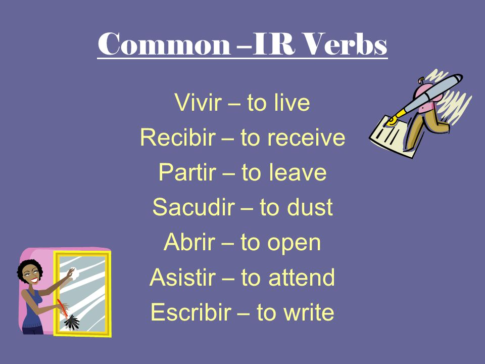 Common –IR Verbs Vivir – to live Recibir – to receive Partir – to leave Sacudir – to dust Abrir – to open Asistir – to attend Escribir – to write