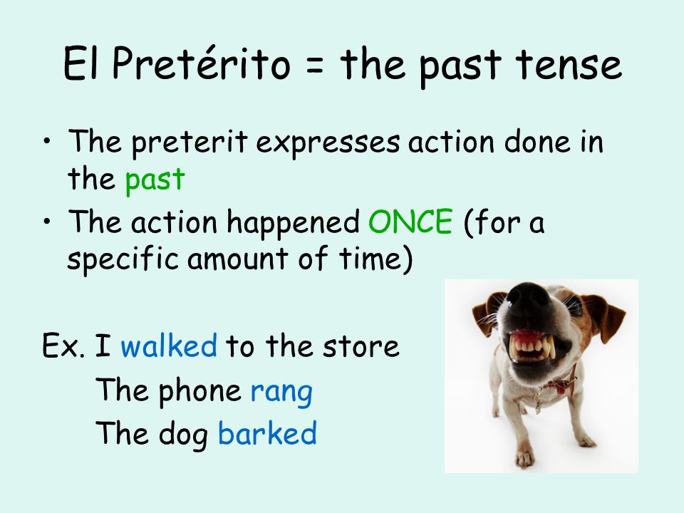 El Pretérito = the past tense The preterit expresses action done in the past The action happened ONCE (for a specific amount of time) Ex. I walked to