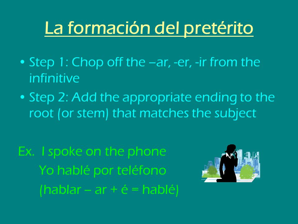 La formación del pretérito Step 1: Chop off the –ar, -er, -ir from the infinitive Step 2: Add the appropriate ending to the root (or stem) that matche