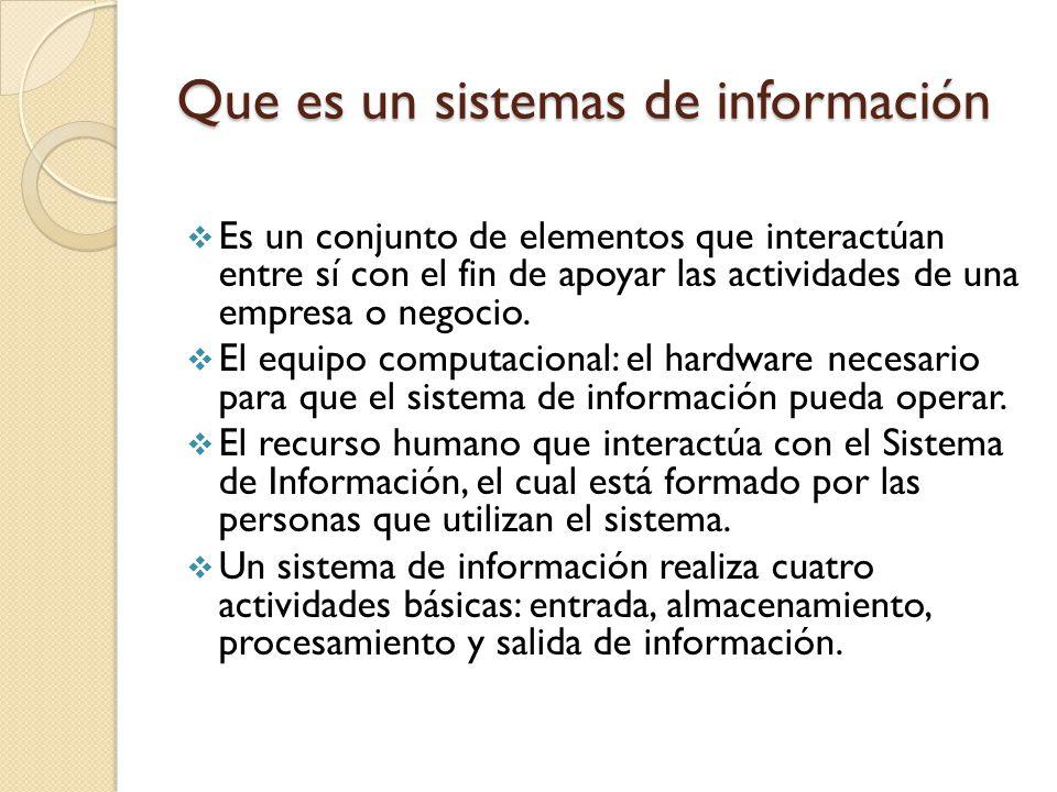 PARTES DE UN SISTEMA DE INFORMACION Almacenamiento de información: Es una de las actividades o capacidades más importantes que tiene una computadora, ya que a través de esta propiedad el sistema puede recordar la información guardada en la sección o proceso anterior.
