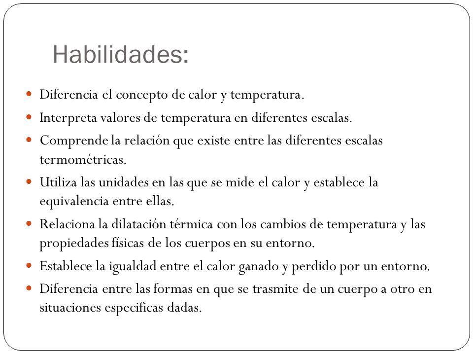 Habilidades: Diferencia el concepto de calor y temperatura. Interpreta valores de temperatura en diferentes escalas. Comprende la relación que existe