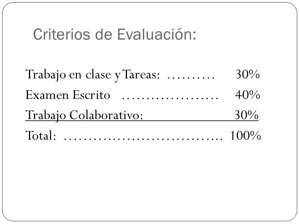 Criterios de Evaluación: Trabajo en clase y Tareas: ………. 30% Examen Escrito …….…………. 40% Trabajo Colaborativo: 30% Total: ………..….……………... 100%