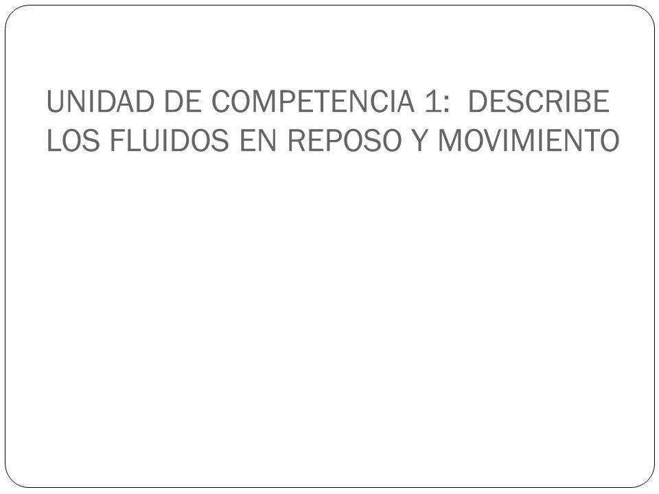 UNIDAD DE COMPETENCIA 1: DESCRIBE LOS FLUIDOS EN REPOSO Y MOVIMIENTO