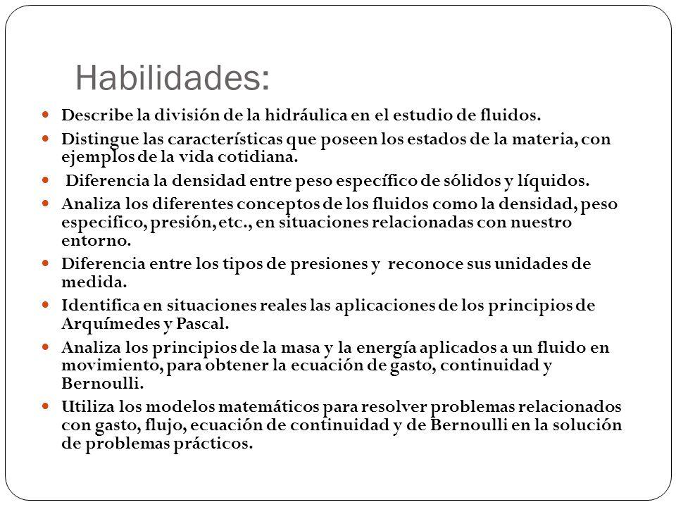 Habilidades: Describe la división de la hidráulica en el estudio de fluidos. Distingue las características que poseen los estados de la materia, con e