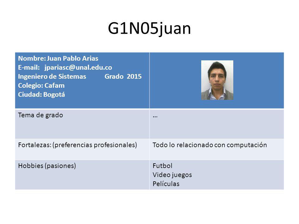 G1N05juan Nombre: Juan Pablo Arias E-mail: jpariasc@unal.edu.co Ingeniero de Sistemas Grado 2015 Colegio: Cafam Ciudad: Bogotá Tema de grado… Fortalezas: (preferencias profesionales)Todo lo relacionado con computación Hobbies (pasiones)Futbol Video juegos Películas