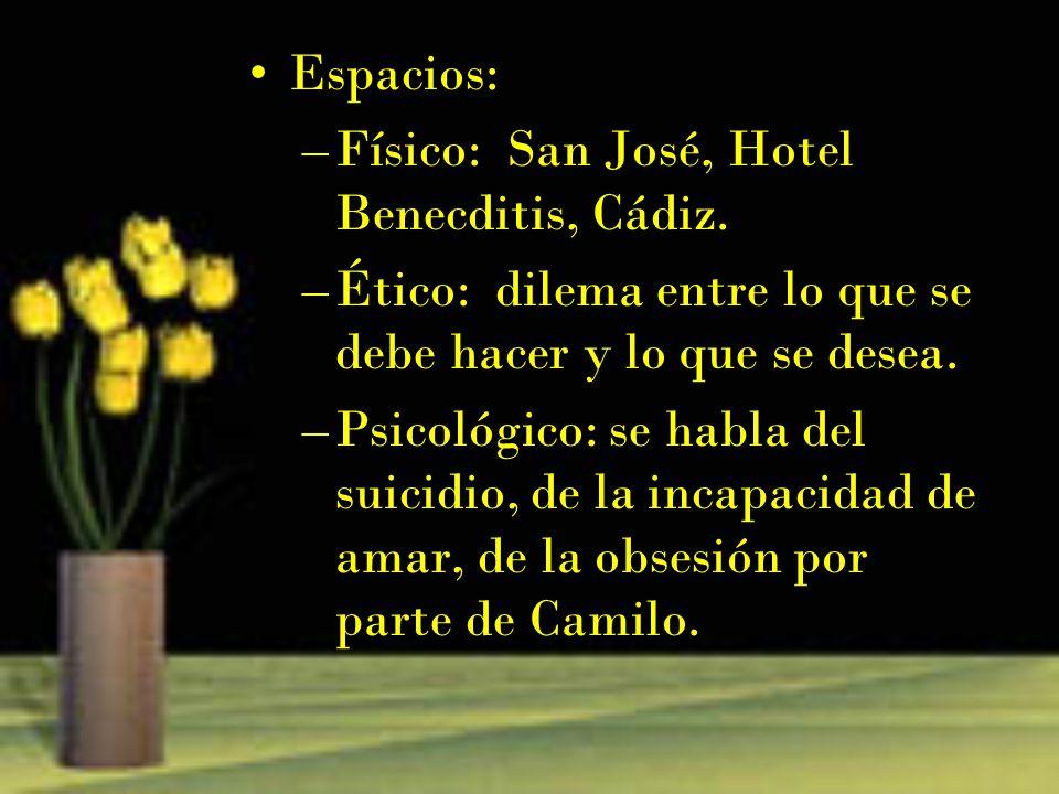 Espacios: –Físico: San José, Hotel Benecditis, Cádiz. –Ético: dilema entre lo que se debe hacer y lo que se desea. –Psicológico: se habla del suicidio