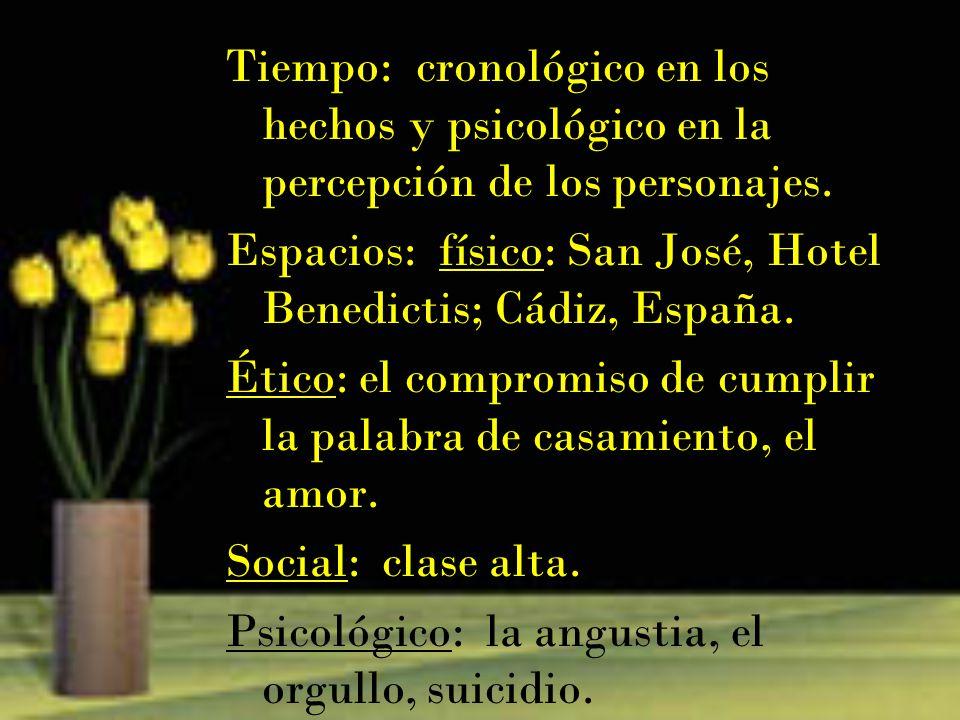 Tiempo: cronológico en los hechos y psicológico en la percepción de los personajes. Espacios: físico: San José, Hotel Benedictis; Cádiz, España. Ético