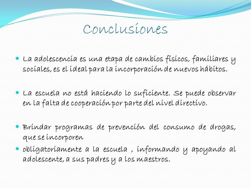 Conclusiones La adolescencia es una etapa de cambios físicos, familiares y sociales, es el ideal para la incorporación de nuevos hábitos.