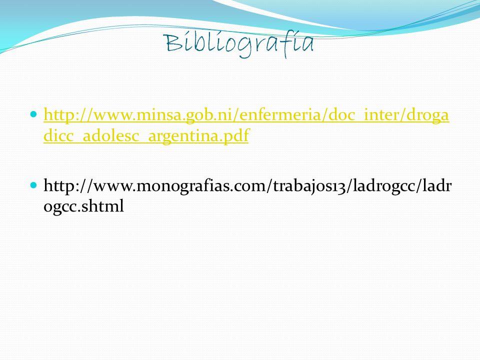 Bibliografía http://www.minsa.gob.ni/enfermeria/doc_inter/droga dicc_adolesc_argentina.pdf http://www.minsa.gob.ni/enfermeria/doc_inter/droga dicc_adolesc_argentina.pdf http://www.monografias.com/trabajos13/ladrogcc/ladr ogcc.shtml
