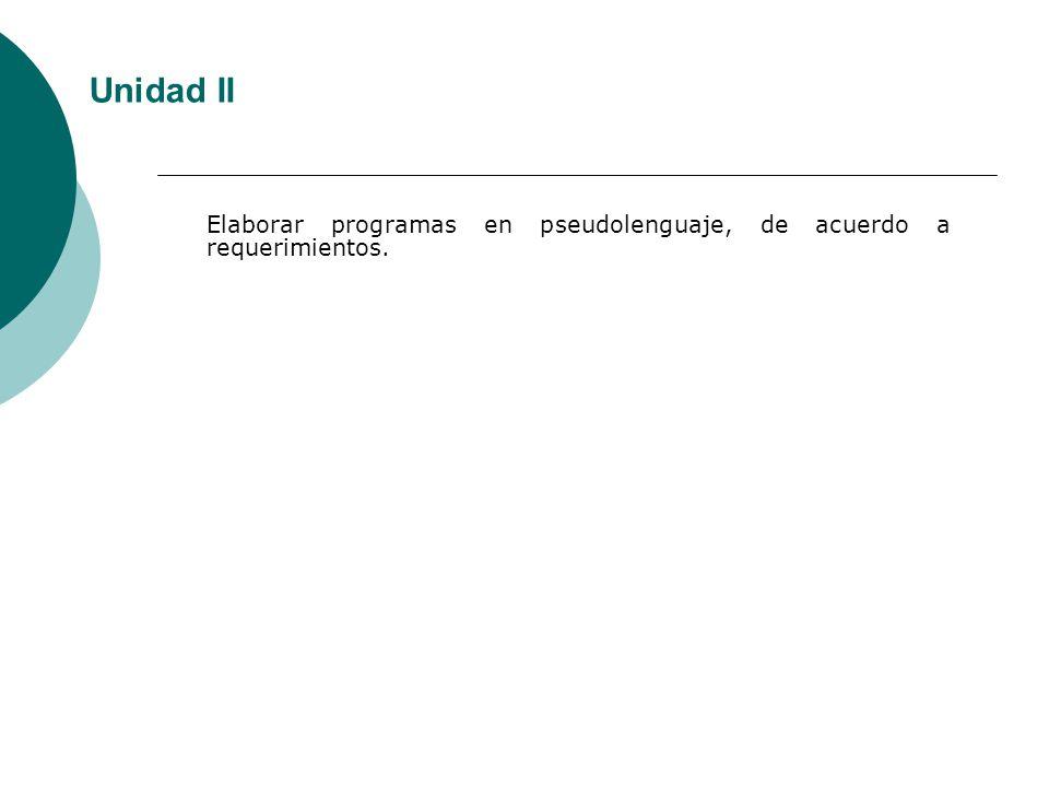 Elaborar programas en pseudolenguaje, de acuerdo a requerimientos. Unidad II