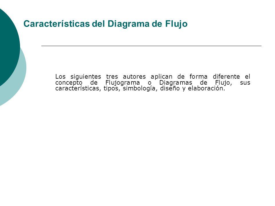Los siguientes tres autores aplican de forma diferente el concepto de Flujograma o Diagramas de Flujo, sus características, tipos, simbología, diseño y elaboración.