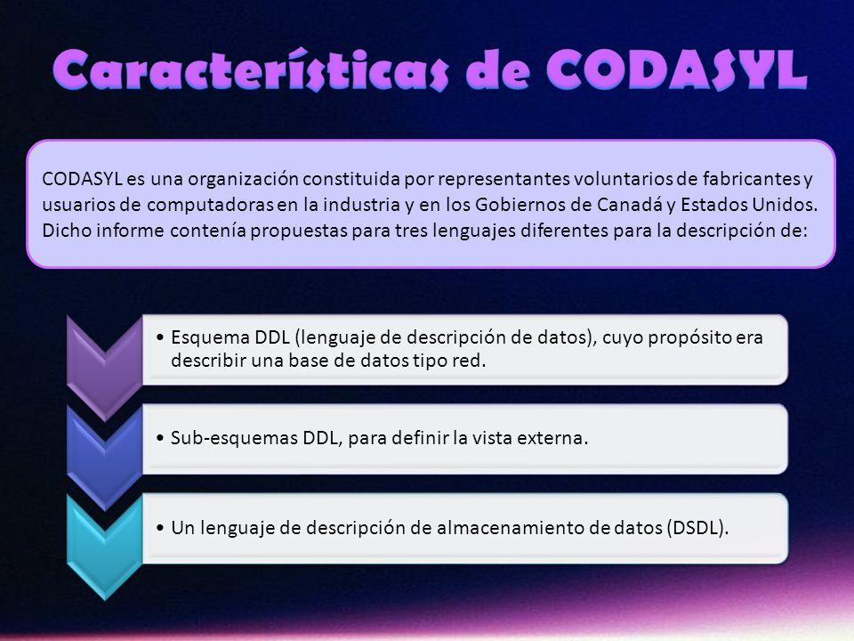 CODASYL es una organización constituida por representantes voluntarios de fabricantes y usuarios de computadoras en la industria y en los Gobiernos de