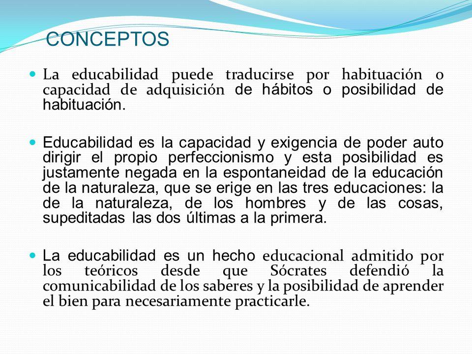 CONCEPTOS La educabilidad puede traducirse por habituación o capacidad de adquisición de hábitos o posibilidad de habituación. Educabilidad es la capa