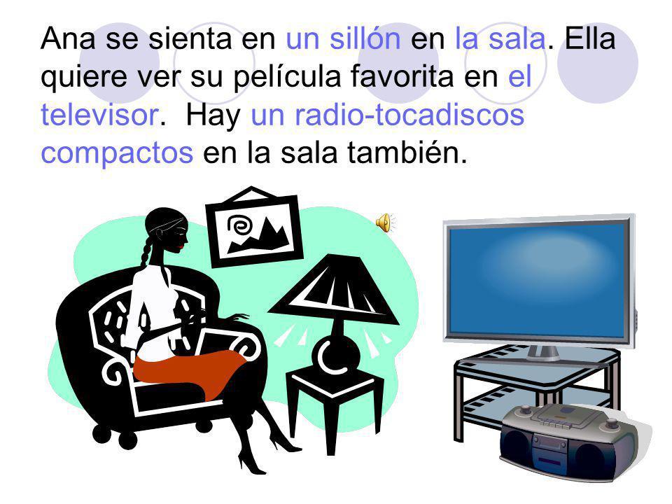 Ana se sienta en un sillón en la sala.Ella quiere ver su película favorita en el televisor.