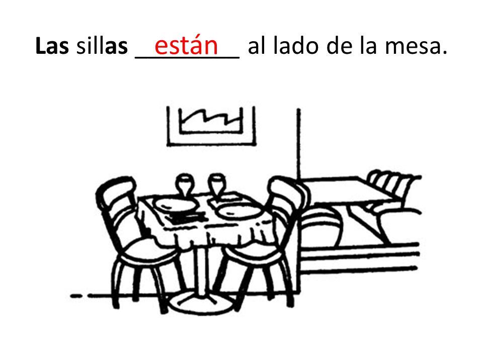 Las sillas ________ al lado de la mesa. están