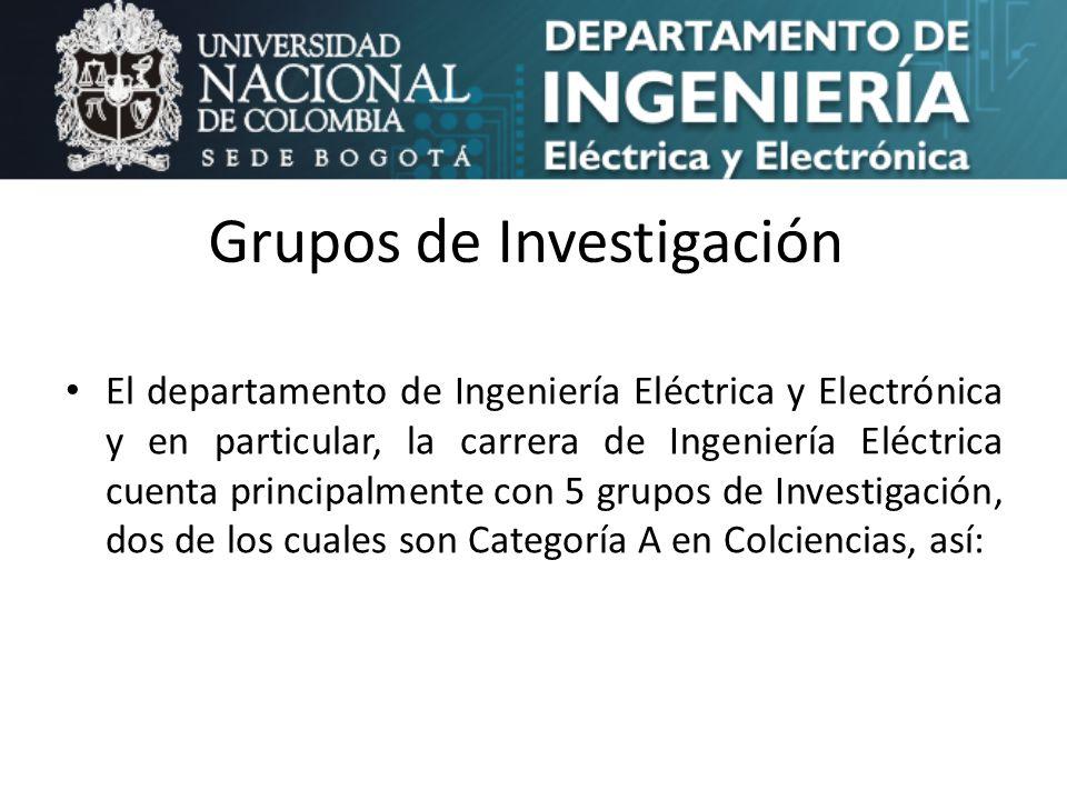 Grupos de Investigación El departamento de Ingeniería Eléctrica y Electrónica y en particular, la carrera de Ingeniería Eléctrica cuenta principalment