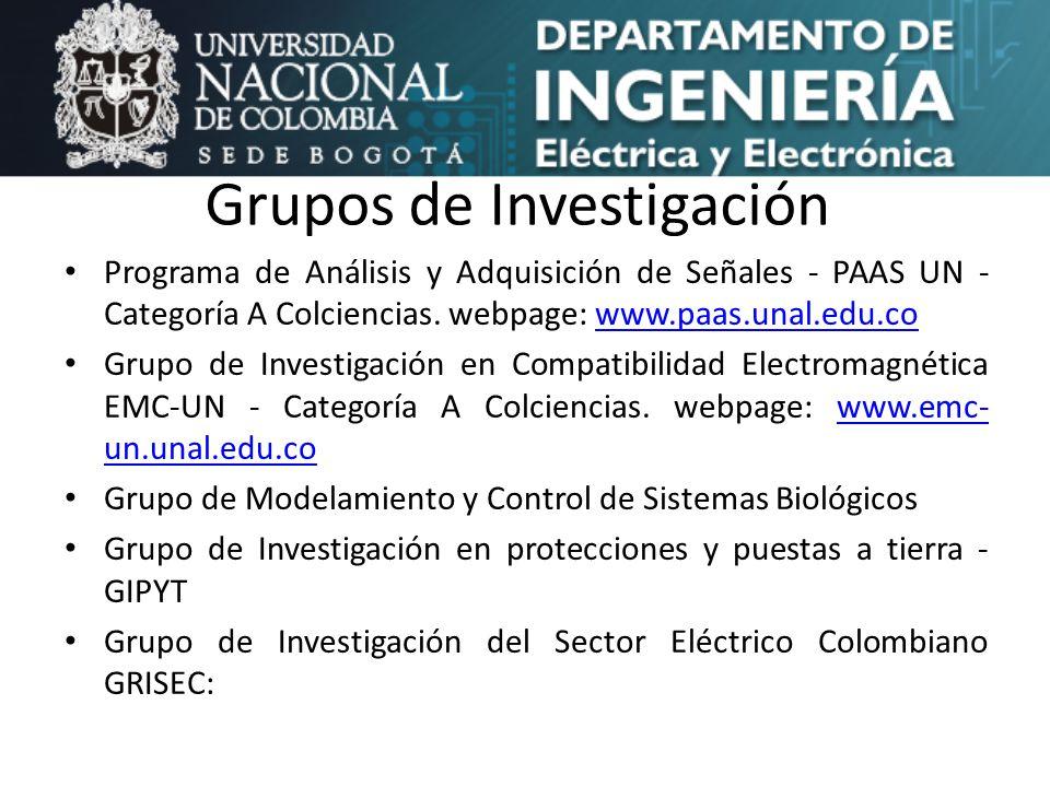 Grupos de Investigación Programa de Análisis y Adquisición de Señales - PAAS UN - Categoría A Colciencias. webpage: www.paas.unal.edu.cowww.paas.unal.