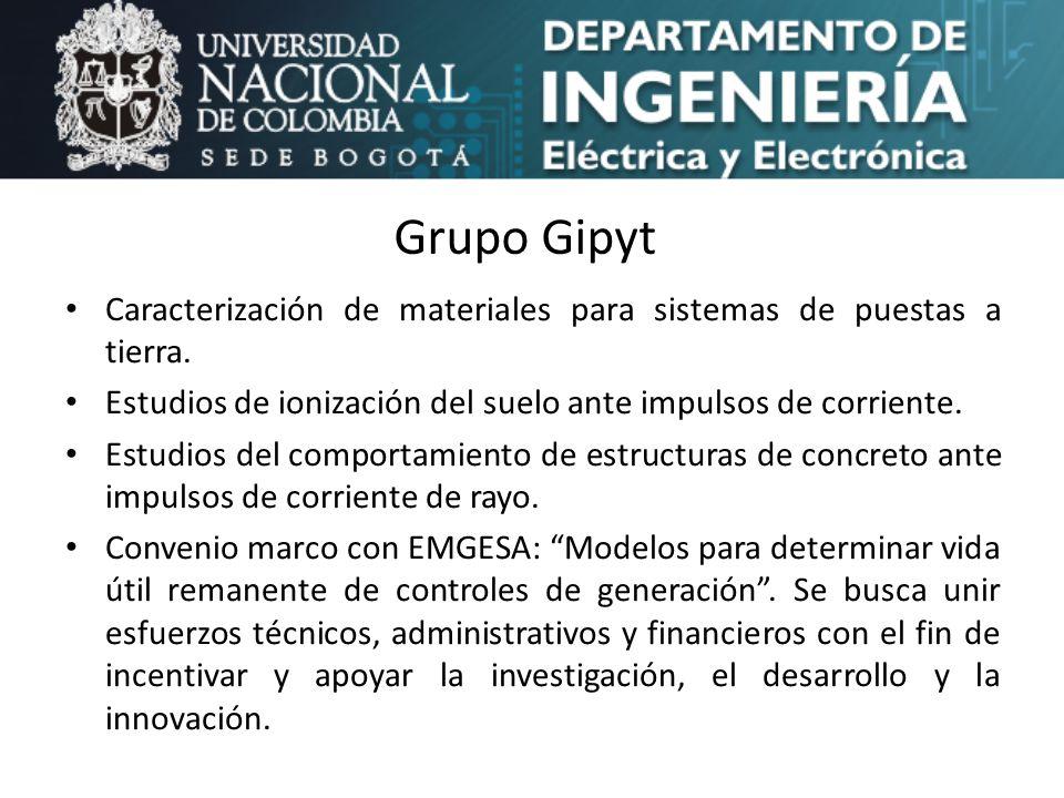 Grupo Gipyt Caracterización de materiales para sistemas de puestas a tierra. Estudios de ionización del suelo ante impulsos de corriente. Estudios del