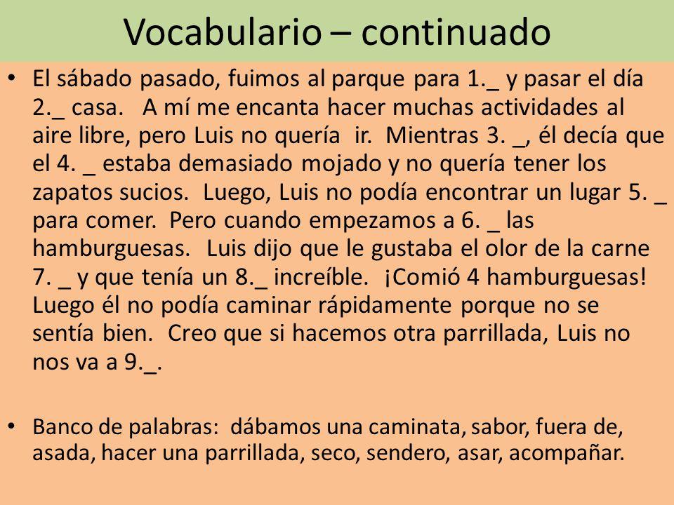 Gramática – los mandatos (9puntos) Use the present tense yo, drop the –o and add the opposite ending.