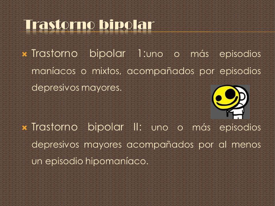 Trastorno bipolar 1: uno o más episodios maníacos o mixtos, acompañados por episodios depresivos mayores.