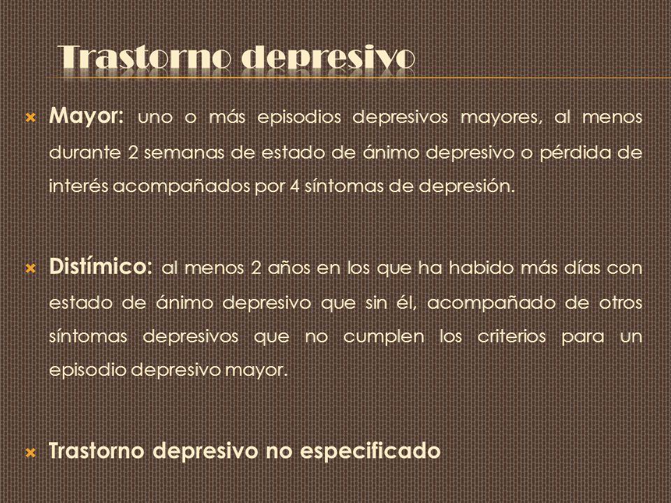 Mayor: uno o más episodios depresivos mayores, al menos durante 2 semanas de estado de ánimo depresivo o pérdida de interés acompañados por 4 síntomas de depresión.
