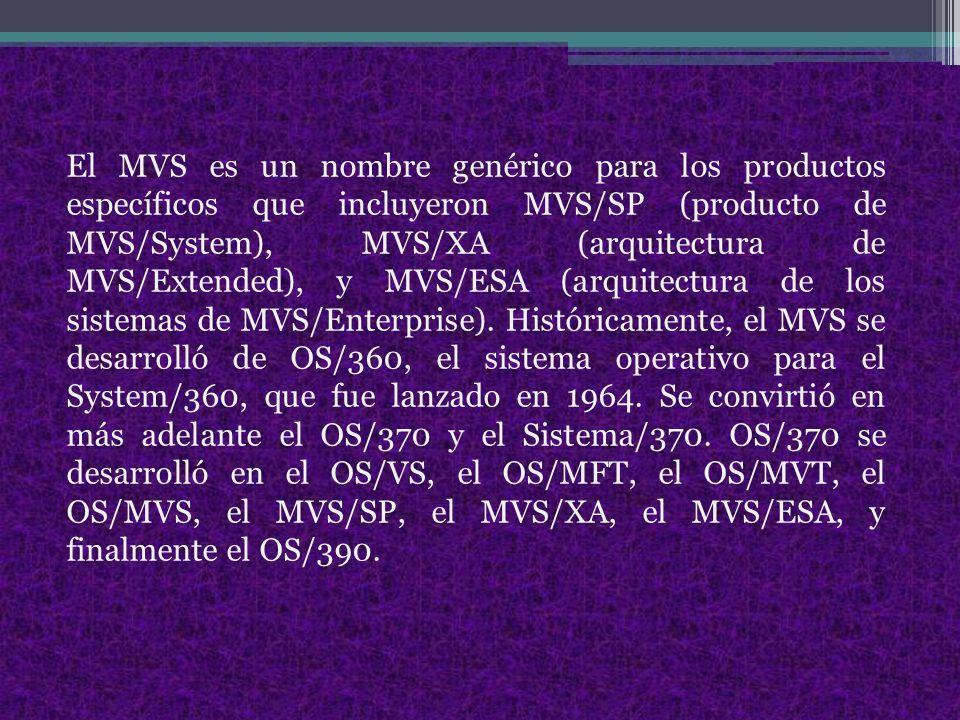 El MVS es un nombre genérico para los productos específicos que incluyeron MVS/SP (producto de MVS/System), MVS/XA (arquitectura de MVS/Extended), y MVS/ESA (arquitectura de los sistemas de MVS/Enterprise).