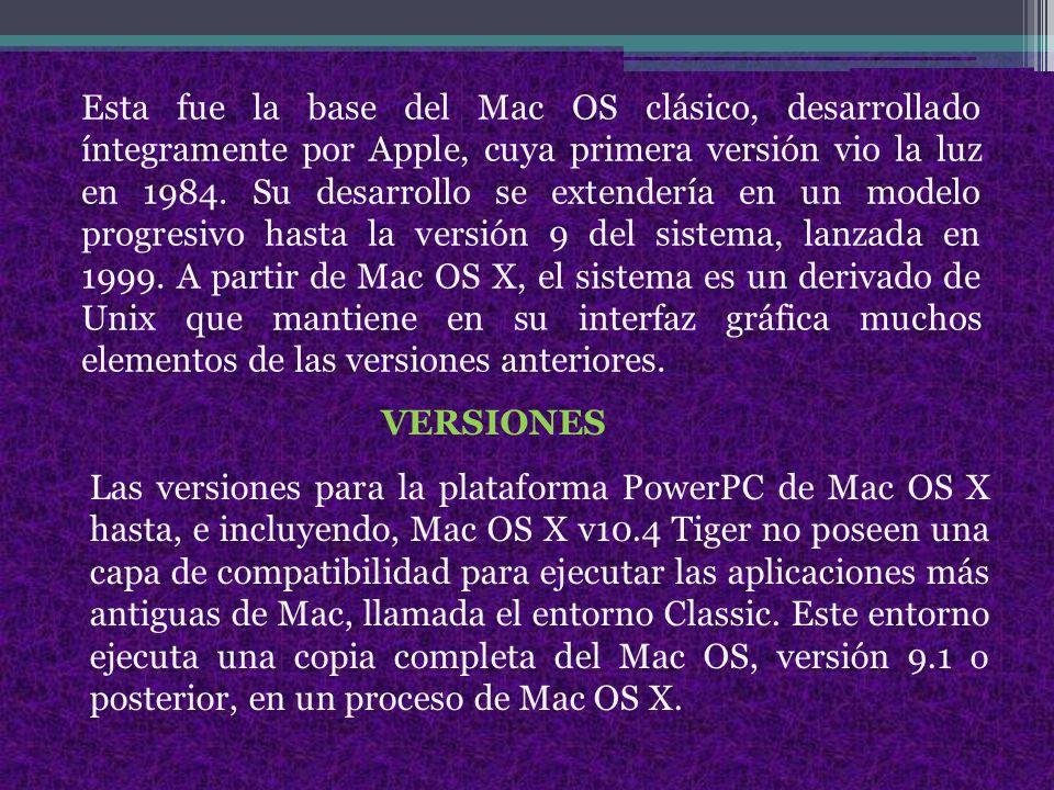 Esta fue la base del Mac OS clásico, desarrollado íntegramente por Apple, cuya primera versión vio la luz en 1984.