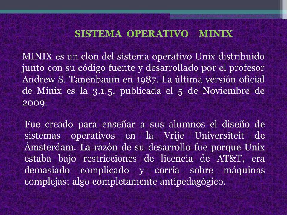 SISTEMA OPERATIVO MINIX MINIX es un clon del sistema operativo Unix distribuido junto con su código fuente y desarrollado por el profesor Andrew S.