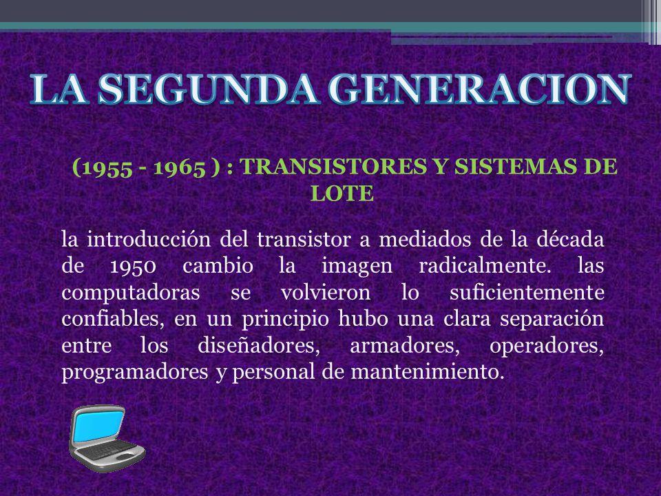 la introducción del transistor a mediados de la década de 1950 cambio la imagen radicalmente.