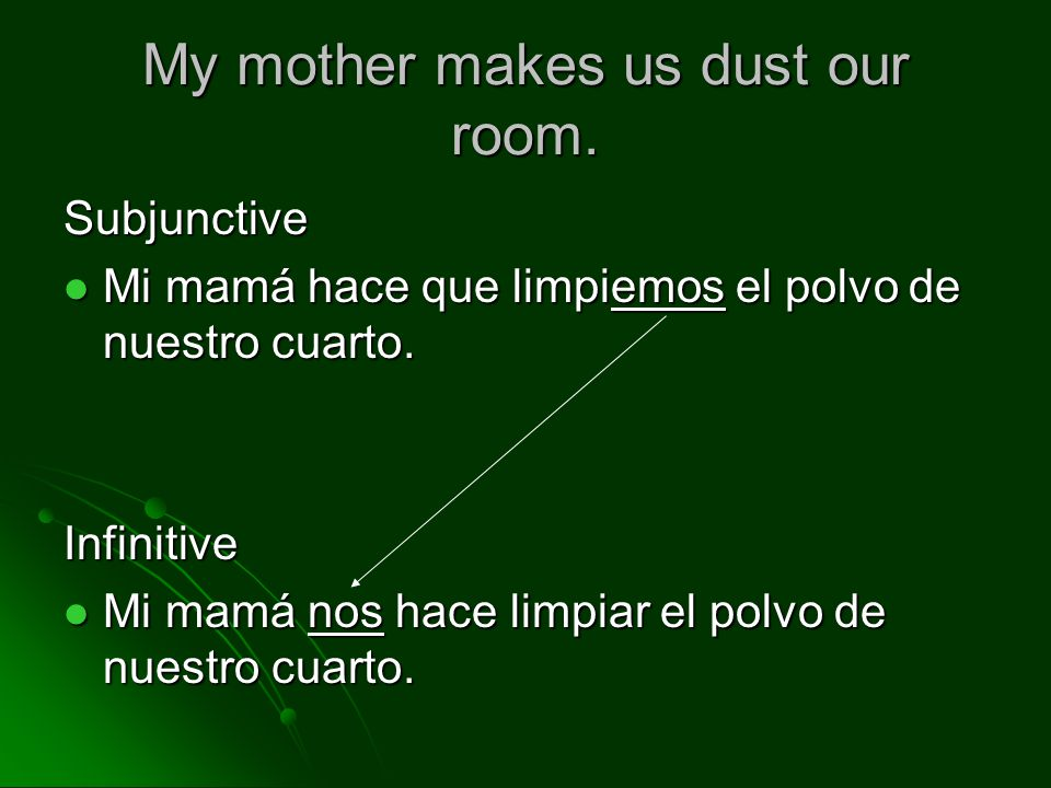 My mother makes us dust our room.