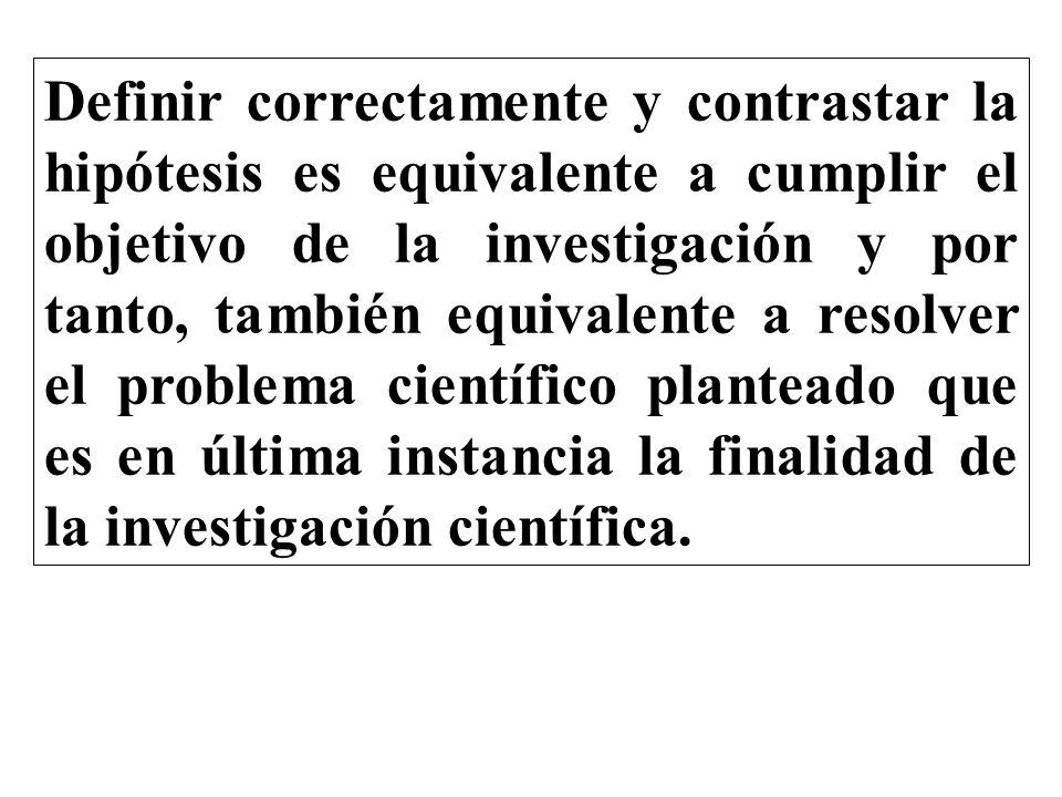 Definir correctamente y contrastar la hipótesis es equivalente a cumplir el objetivo de la investigación y por tanto, también equivalente a resolver el problema científico planteado que es en última instancia la finalidad de la investigación científica.