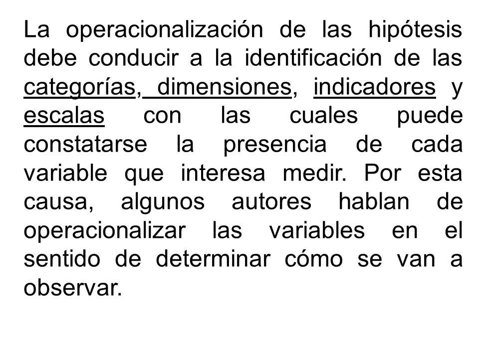La operacionalización de las hipótesis debe conducir a la identificación de las categorías, dimensiones, indicadores y escalas con las cuales puede constatarse la presencia de cada variable que interesa medir.