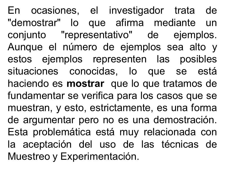 En ocasiones, el investigador trata de demostrar lo que afirma mediante un conjunto representativo de ejemplos.