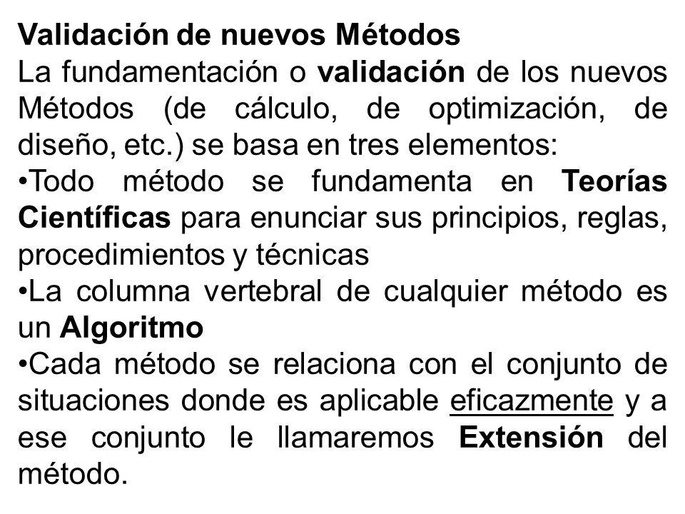 Validación de nuevos Métodos La fundamentación o validación de los nuevos Métodos (de cálculo, de optimización, de diseño, etc.) se basa en tres elementos: Todo método se fundamenta en Teorías Científicas para enunciar sus principios, reglas, procedimientos y técnicas La columna vertebral de cualquier método es un Algoritmo Cada método se relaciona con el conjunto de situaciones donde es aplicable eficazmente y a ese conjunto le llamaremos Extensión del método.