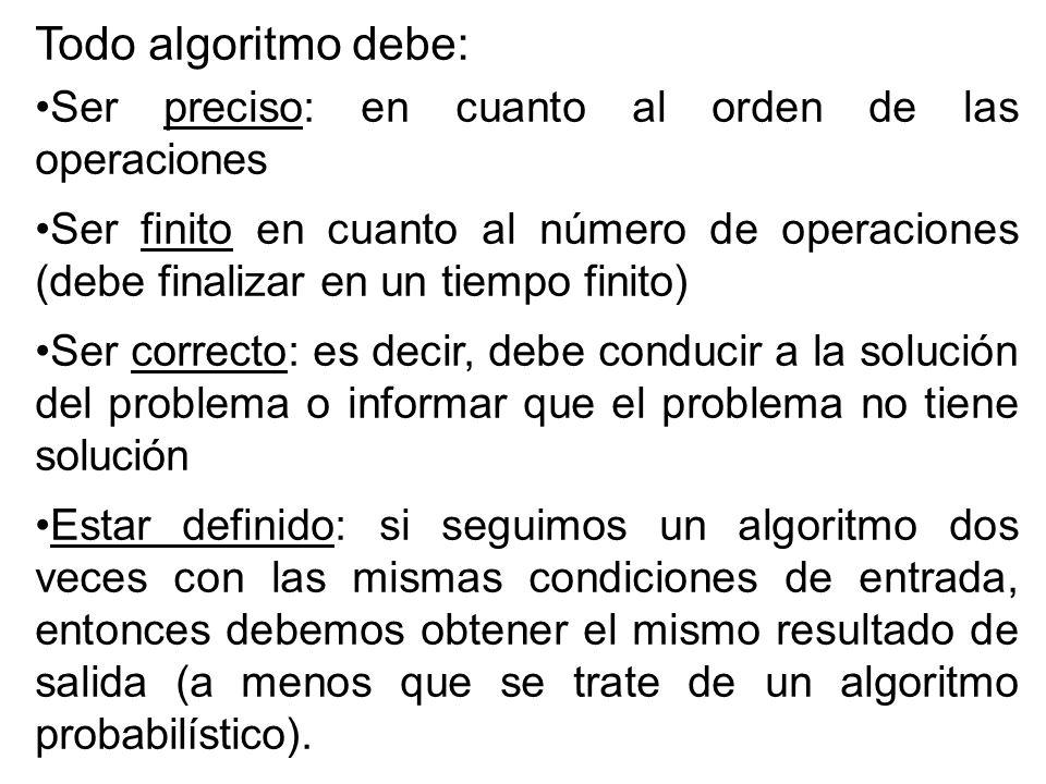 Todo algoritmo debe: Ser preciso: en cuanto al orden de las operaciones Ser finito en cuanto al número de operaciones (debe finalizar en un tiempo finito) Ser correcto: es decir, debe conducir a la solución del problema o informar que el problema no tiene solución Estar definido: si seguimos un algoritmo dos veces con las mismas condiciones de entrada, entonces debemos obtener el mismo resultado de salida (a menos que se trate de un algoritmo probabilístico).