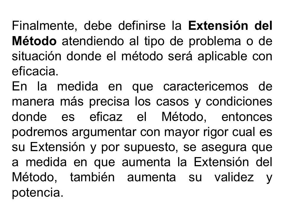 Finalmente, debe definirse la Extensión del Método atendiendo al tipo de problema o de situación donde el método será aplicable con eficacia.
