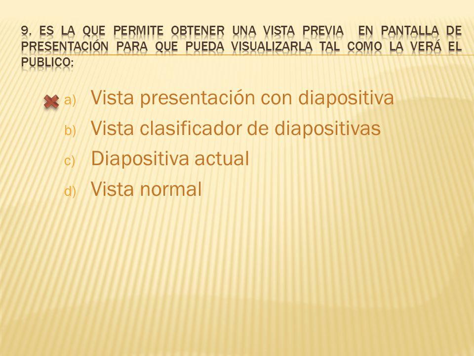 a) Vista presentación con diapositiva b) Vista clasificador de diapositivas c) Diapositiva actual d) Vista normal