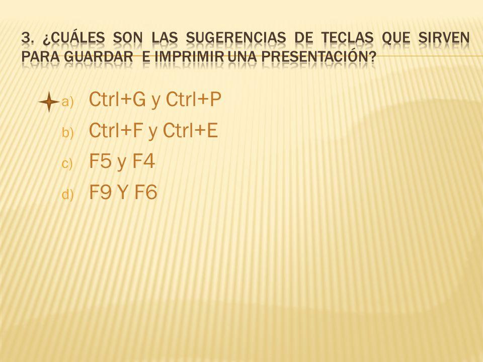 a) Ctrl+G y Ctrl+P b) Ctrl+F y Ctrl+E c) F5 y F4 d) F9 Y F6