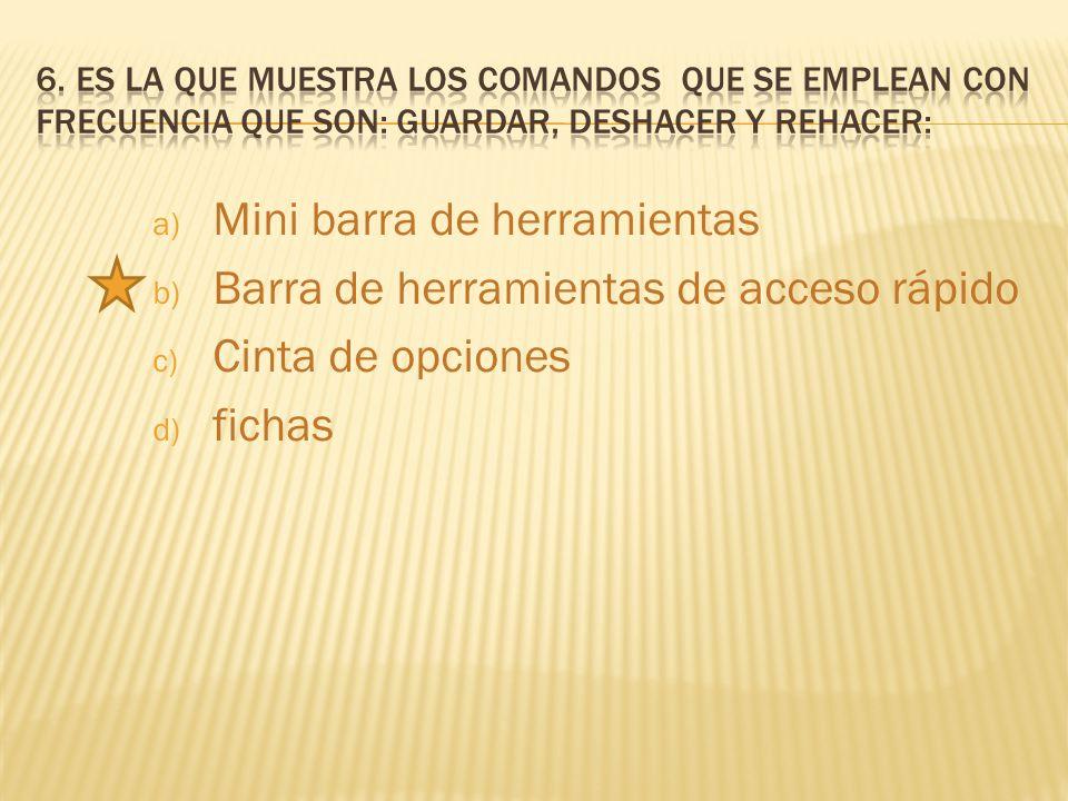 a) Mini barra de herramientas b) Barra de herramientas de acceso rápido c) Cinta de opciones d) fichas