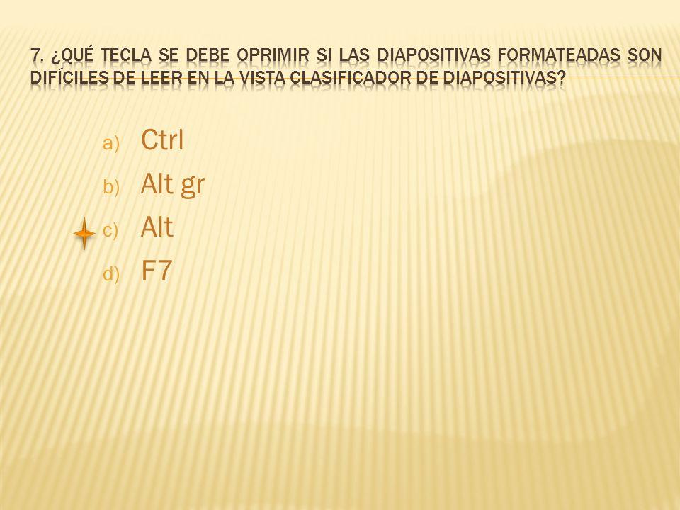 a) Ctrl b) Alt gr c) Alt d) F7