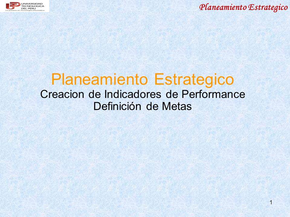 Planeamiento Estrategico 1 Creacion de Indicadores de Performance Definición de Metas