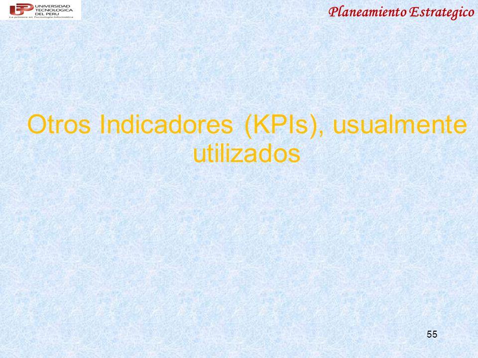 Planeamiento Estrategico 55 Otros Indicadores (KPIs), usualmente utilizados