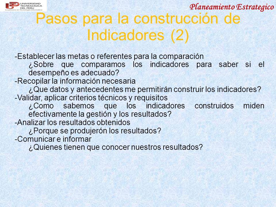 Planeamiento Estrategico Pasos para la construcción de Indicadores (2) - Establecer las metas o referentes para la comparación ¿Sobre que comparamos los indicadores para saber si el desempeño es adecuado.