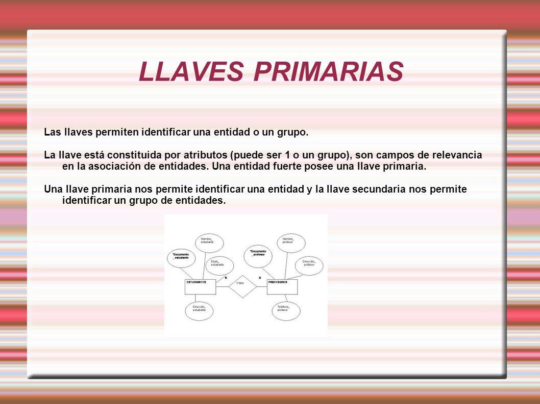 LLAVES PRIMARIAS Las llaves permiten identificar una entidad o un grupo. La llave está constituida por atributos (puede ser 1 o un grupo), son campos