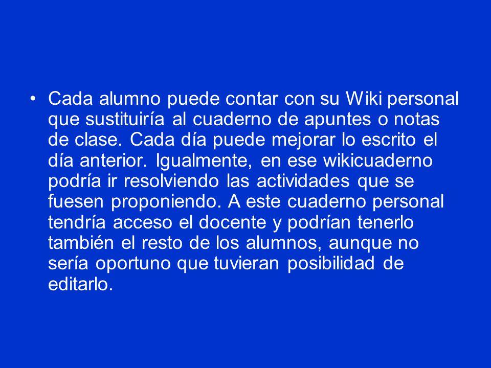 Cada alumno puede contar con su Wiki personal que sustituiría al cuaderno de apuntes o notas de clase.