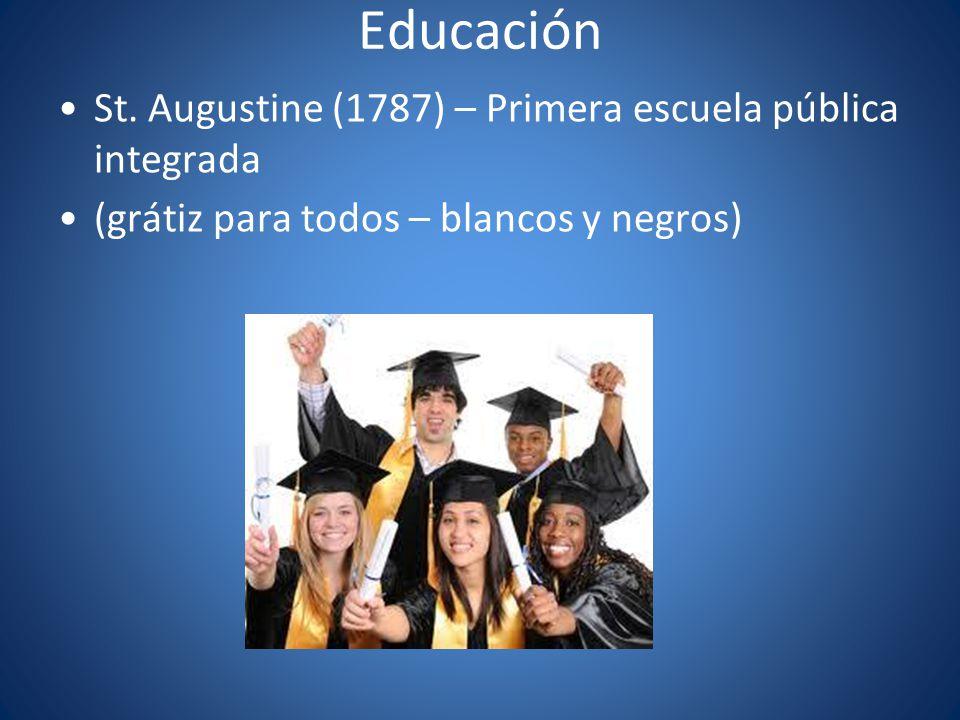 Educación St. Augustine (1787) – Primera escuela pública integrada (grátiz para todos – blancos y negros)