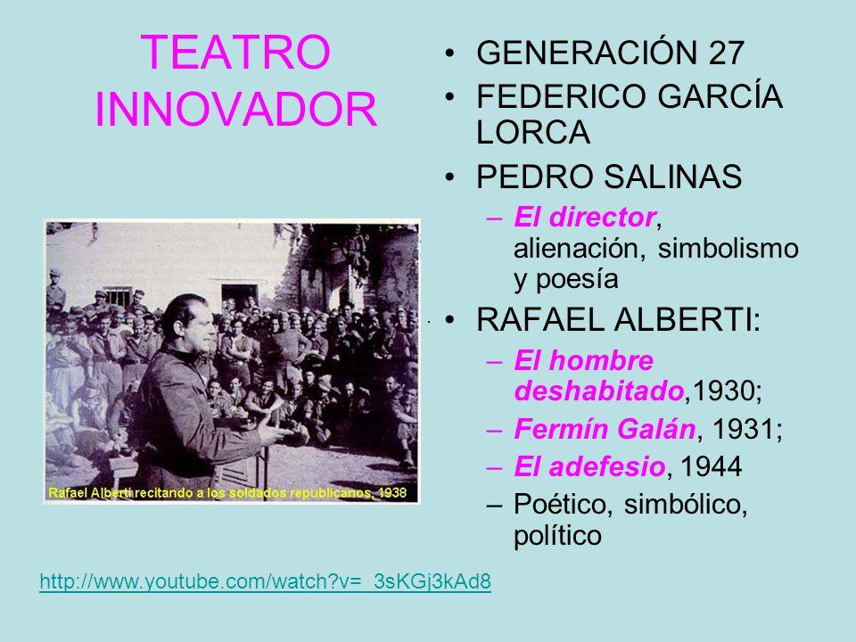 TEATRO INNOVADOR GENERACIÓN 27 FEDERICO GARCÍA LORCA PEDRO SALINAS –El director, alienación, simbolismo y poesía RAFAEL ALBERTI: –El hombre deshabitado,1930; –Fermín Galán, 1931; –El adefesio, 1944 –Poético, simbólico, político http://www.youtube.com/watch?v=_3sKGj3kAd8