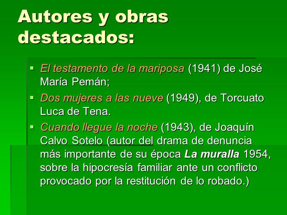 Autores y obras destacados: El testamento de la mariposa (1941) de José María Pemán; El testamento de la mariposa (1941) de José María Pemán; Dos mujeres a las nueve (1949), de Torcuato Luca de Tena.