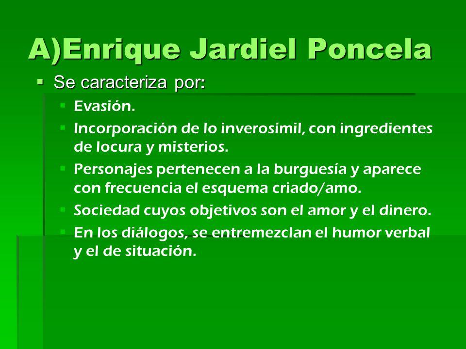 A)Enrique Jardiel Poncela Se caracteriza por : Se caracteriza por : Evasión. Incorporación de lo inverosímil, con ingredientes de locura y misterios.