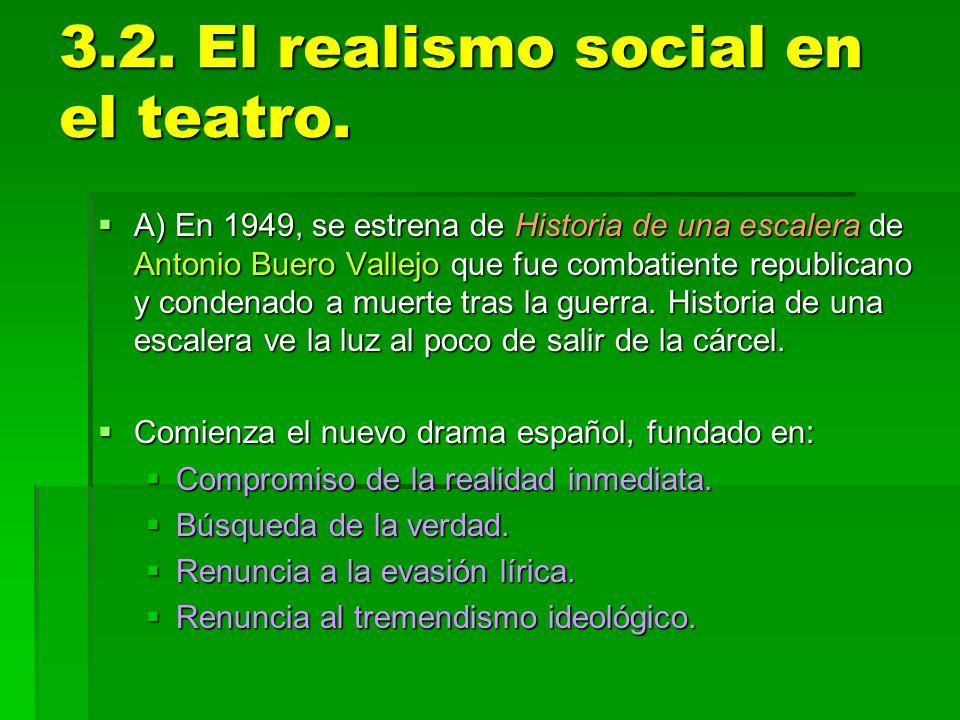 3.2. El realismo social en el teatro. A) En 1949, se estrena de Historia de una escalera de Antonio Buero Vallejo que fue combatiente republicano y co